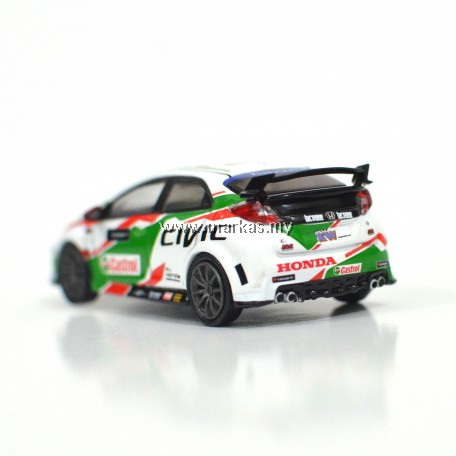 TARMAC WORKS 1/64 HONDA CIVIC TYPE R FK2 TOURING CAR LIVERY CASTROL WITH RACING WHEELS