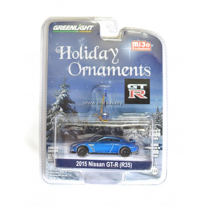 GREENLIGHT X MIJO 2015 NISSAN GT-R R35 BLUE HOLIDAY ORNAMENTS