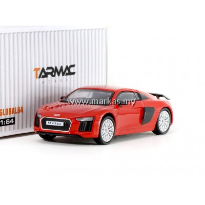 TARMAC WORKS 1/64 GLOBAL64 AUDI R8 V10 PLUS DYNAMITE RED (SILVER MULTI-SPOKE RIMS)