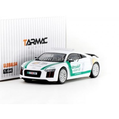 TARMAC WORKS 1/64 GLOBAL64 AUDI R8 V10 PLUS DUBAI POLICE (SILVER MULTI-SPOKE RIMS)