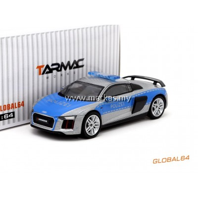 TARMAC WORKS 1/64 GLOBAL64 AUDI R8 V10 PLUS GERMAN POLIZEI