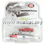 ACME 1/64 MOFFAT RACING FORD F-350 RAMP TRUCK WITH #9 1969 TRANS AM MUSTANG