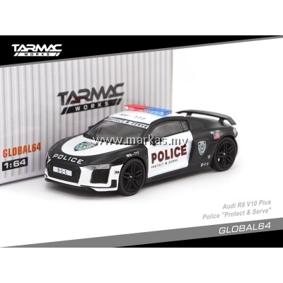 "TARMAC WORKS 1/64 GLOBAL64 AUDI R8 V10 PLUS POLICE ""PROTECT & SERVE"""