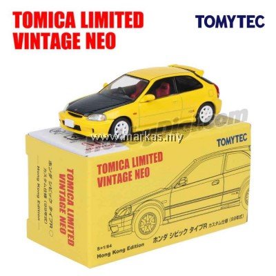 TOMICA LIMITED VINTAGE NEO HK EXCLUSIVE- TLV HONDA CIVIC TYPE R EK9 99 MODEL CUSTOM VERSION YELLOW