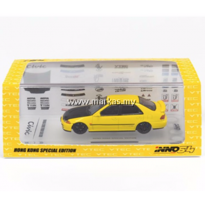 INNO-MODELS INNO64 1/64 HONDA CIVIC EG YELLOW - HONG KONG EXCLUSIVE