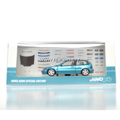 INNO MODELS INNO64 1/64 HONDA CIVIC EF METALLIC GREEN - HONG KONG EXCLUSIVE