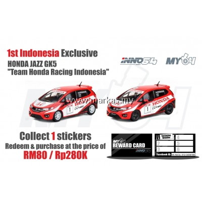 "INNO MODELS INNO64 1/64 HONDA JAZZ GK5 ""TEAM HONDA RACING INDONESIA"" 1ST INDONESIA EXCLUSIVE *1 STICKER REQUIRED"