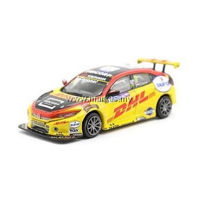 (PO) TARMAC WORKS 1/64 HONDA CIVIC TYPE R TCR WTCR RACE OF MACAU 2018 TOM CORONEL