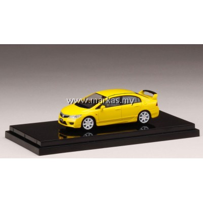(PO) HOBBY JAPAN X MARK43 1/64 HONDA CIVIC TYPE R (FD2) SUNLIGHT YELLOW