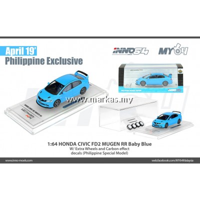 INNO MODELS INNO64 1/64 HONDA CIVIC TYPE-R FD2 PHILIPPINE EXCLUSIVE EDITION BABY BLUE