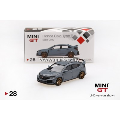 MINI GT 1/64 #28 HONDA CIVIC TYPE R SLATE GREY WITH TE37 WHEEL LHD - TAIWAN EXCLUSIVE