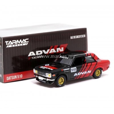TARMAC WORKS x GREENLIGHT COLLECTIBLES 1/64 DATSUN 510 ADVAN LIVERY