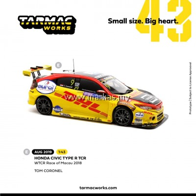 (PO) TARMAC WORKS 1/43 HONDA CIVIC TYPE R TCR WTCR RACE OF MACAU 2018 #9