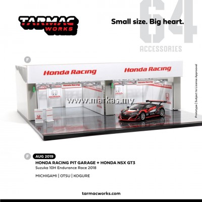 TARMAC WORKS 1/64 ACCESSORIES RACING PITS STOP WITH EXCLUSIVE 1/64 HONDA NSX GT3