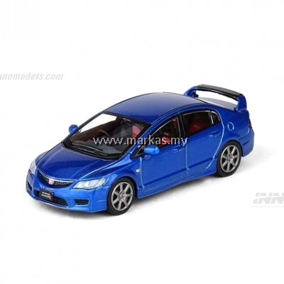 INNO MODELS INNO64 1/64 HONDA CIVIC TYPE R FD2 VIVID BLUE PEARL W/ EXTRA WHEELS & CARBON BONNET DECALS