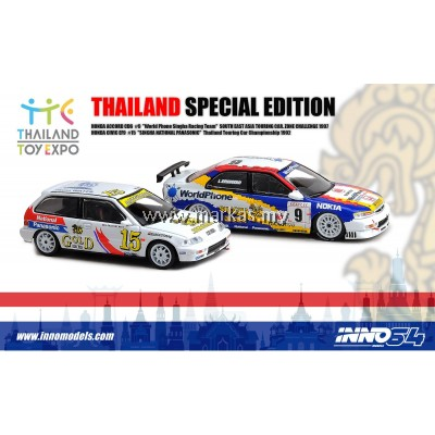 INNO MODELS INNO64 1/64 THAILAND SPECIAL EDITION - HONDA ACCORD CD6 & HONDA CIVIC EF9 *3 STICKERS REQUIRED