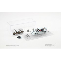 INNO MODELS INNO64 1/64 HONDA INTEGRA TYPE-R DC5 WHITE W/ EXTRA WHEELS & FRONT BONNET CARBON DECALS