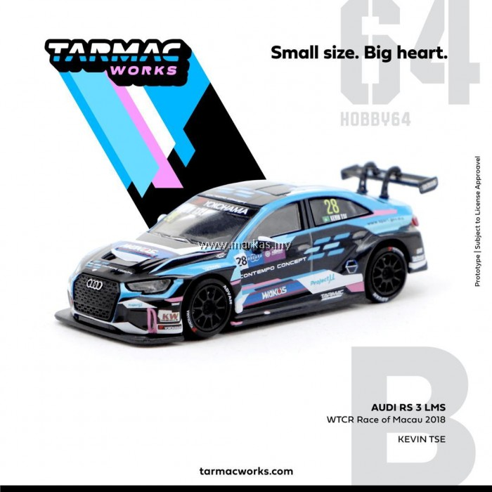 (PO) TARMAC WORKS 1/64 AUDI RS3 LMS WTCR RACE OF MACAU 2018