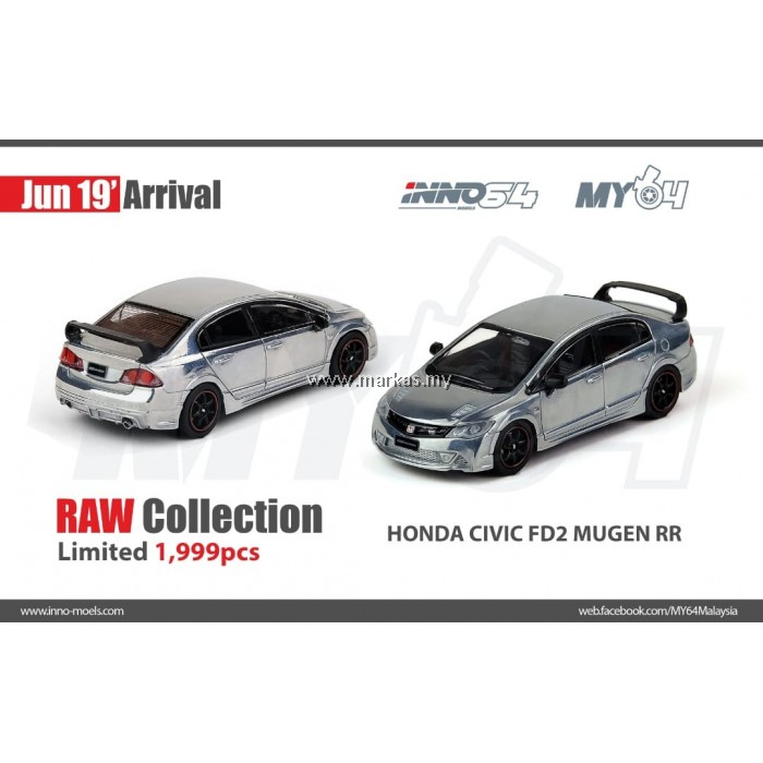 "INNO MODELS INNO64 1/64 HONDA CIVIC TYPE R FD2 MUGEN ""RAW EDITION"" *NO STICKER REQUIRED"