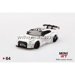 (PO) MINI GT 1/64 #64 LB WORKS NISSAN GT-R R35 TYPE 1 REAR WING VERS 1+ 2 SATIN WHITE (RHD)