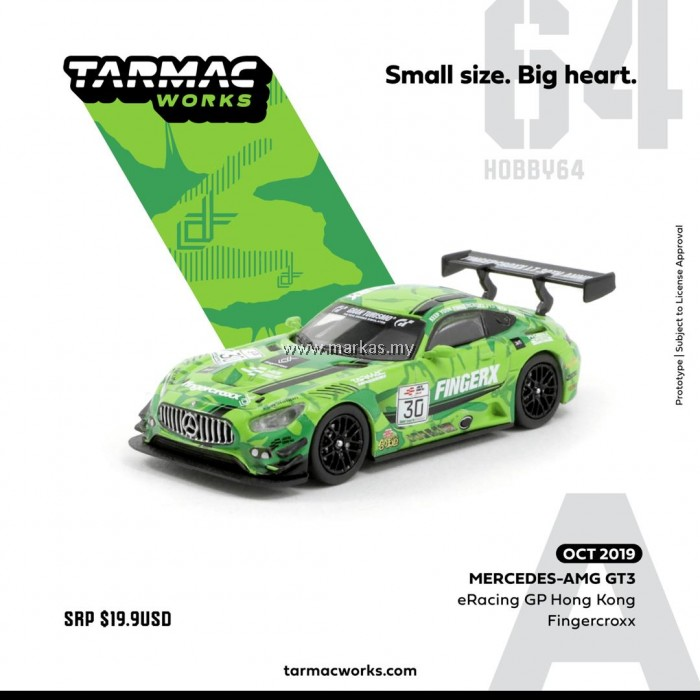(PO) TARMAC WORKS 1/64 MERCEDES AMG GT3 ERACING GP HONG KONG FINGERCROXX