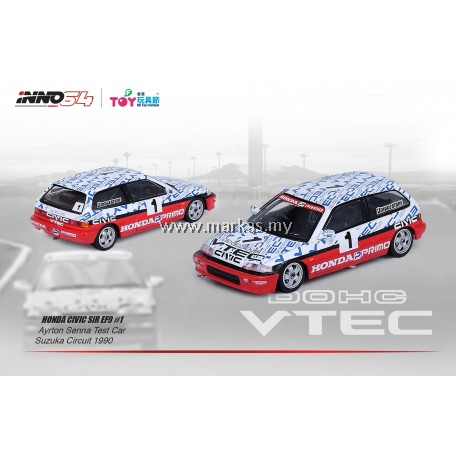 INNO MODELS INNO64 1/64 HK TOY SOUL EXCLUSIVE - HONDA CIVIC SiR EF9 N1 CLASS SUZUKA CIRCUIT TEST CAR ARYTON SENNA