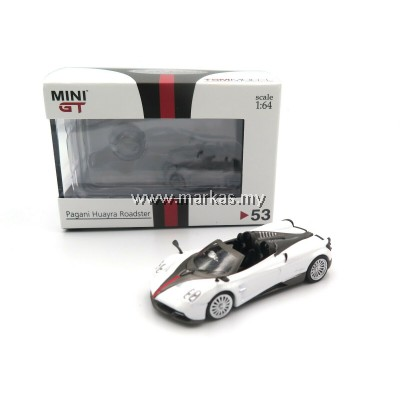 MINI GT 1/64 #53 HK EXCLUSIVE PAGANI HUAYRA ROADSTER WHITE W/ BLACK STRIPE RHD