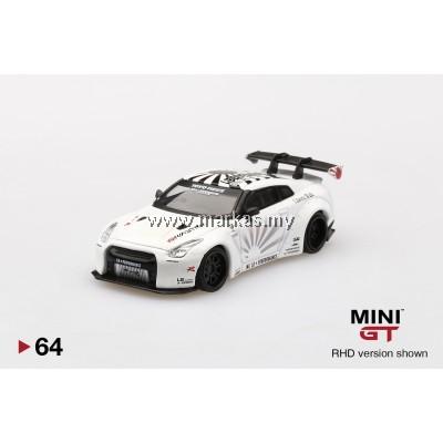 (PO) MINI GT 1/64 #64 LB WORKS NISSAN GT-R R35 TYPE 2 VERSION 3 WHITE (RHD)