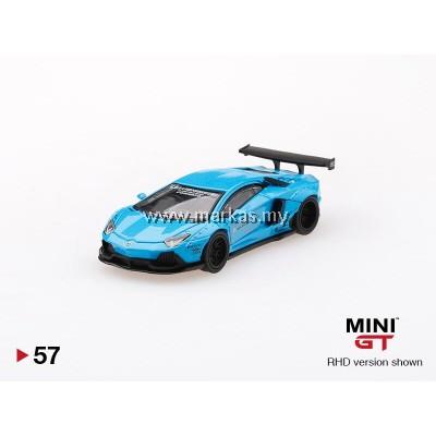 (PO) MINI GT 1/64 #57 LB WORKS LAMBORGHINI AVENTADOR LIGHT BLUE (RHD)