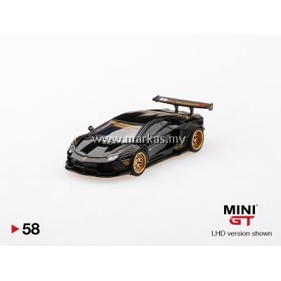 (PO) MINI GT 1/64 #58 LB WORKS LAMBORGHINI AVENTADOR BLACK (RHD)