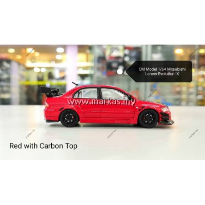 CM MODEL 1/64 MITSUBISHI LANCER EVOLUTION IX RED WITH CARBON FIBER