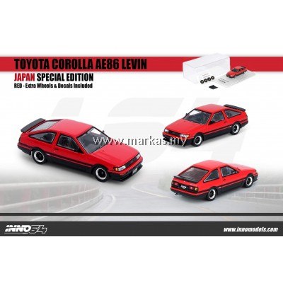 INNO MODELS INNO64 1/64 JAPAN EXCLUSIVE -TOYOTA COROLLA AE86 LEVIN RED WITH EXTRA WHEELS AND FRONT BONNET CARBON EFFECT DECALS