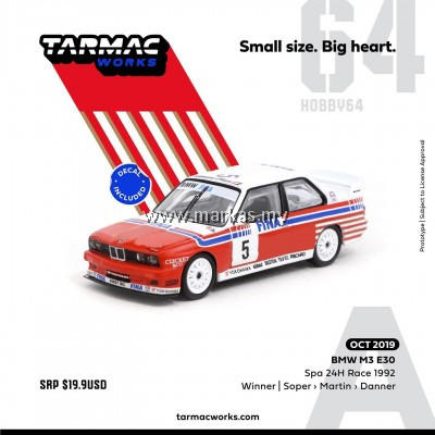 (PO) TARMAC WORKS 1/64 BMW M3 E30 SPA 24HOURS RACE 1992 WINNER (DECAL INCLUDED)