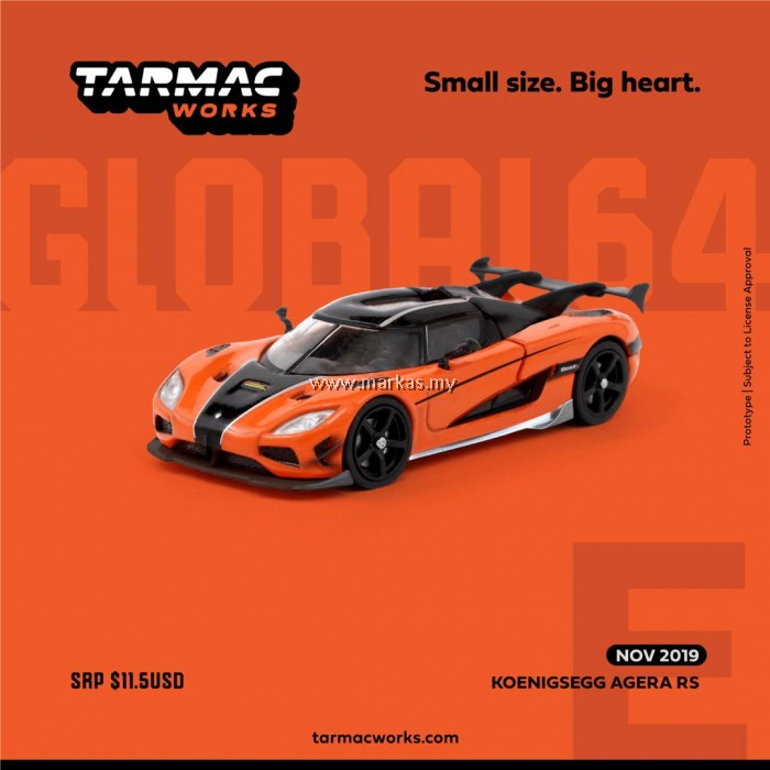 (PO) TARMAC WORKS GLOBAL64 1/64 KOENIGSEGG AGERA RS ORANGE/BLACK