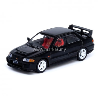 INNO MODELS INNO64 1/64 MITSUBISHI LANCER EVOLUTION III BLACK W/ EXTRA WHEELS & DECALS