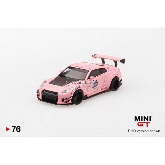 (PO) MINI GT 1/64 #76 LB WORKS NISSAN GTR R35 TYPE 2 REAR WING VER 3 PINK PIG (RHD)