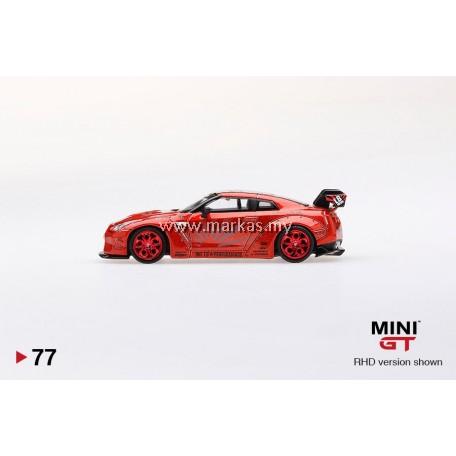 (PO) MINI GT 1/64 #77 LB WORKS NISSAN GTR R35 TYPE 1 REAR WING VER 1+2 CANDY RED (RHD)
