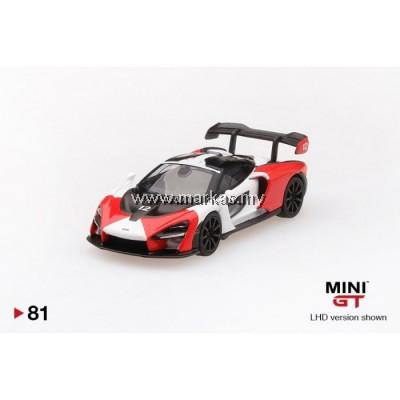 (PO) MINI GT 1/64 #81 MCLAREN SENNA ORANGE/WHITE (RHD)