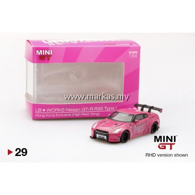 MINI GT 1/64 #29 HK EXCLUSIVE LB★WORKS NISSAN GT-R R35 TYPE 1 HIGH REAR WING (PINK)