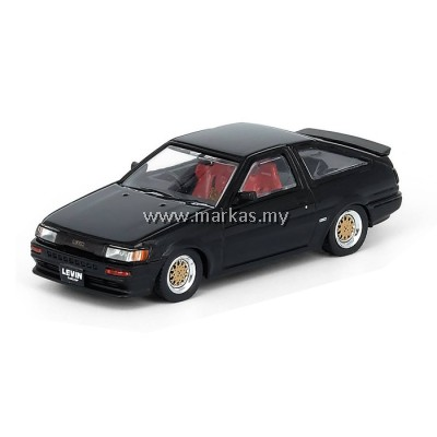 INNO MODELS INNO64 1/64 TOYOTA COROLLA AE86 LEVIN BLACK WITH EXTRA WHEELS & DECALS SHEET