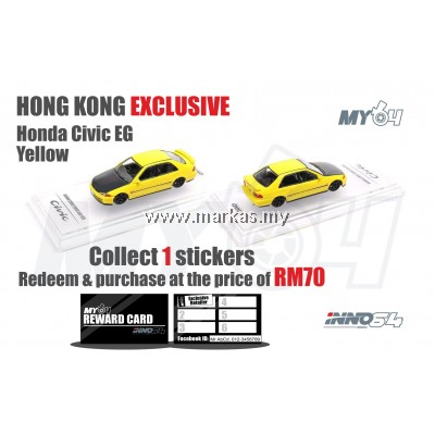 INNO MODELS INNO64 1/64 HONG KONG EXCLUSIVE HONDA CIVIC FERIO SIR EG9 YELLOW