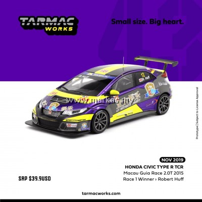 (PO) TARMAC WORKS 1/43 HONDA CIVIC TYPE R TCR MACAU GUAI RACE 2.0T 2015 RACE 1 WINNER ROBERT HUFF