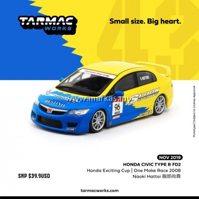 (PO) TARMAC WORKS 1/43 HONDA CIVIC TYPE R FD2 HONDA EXCITING CUP ONE MAKE RACE 2008 NAOKI HATTOI