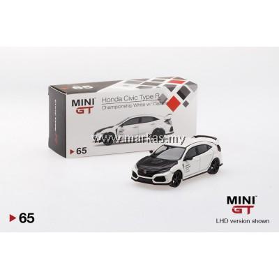 MINI GT 1/64 #65 HONDA CIVIC TYPE R (FK8) CHAMPIONSHIP WHITE W/ CARBON KIT & TE37 WHEELS (RHD)