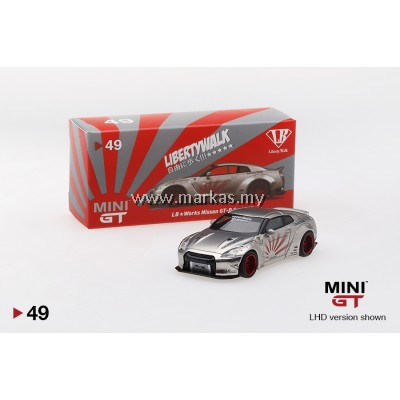 MINI GT 1/64 #49 LB WORKS NISSAN GT-R R35 TYPE 1 REAR WING VERSION 2 SATIN SILVER (RHD)