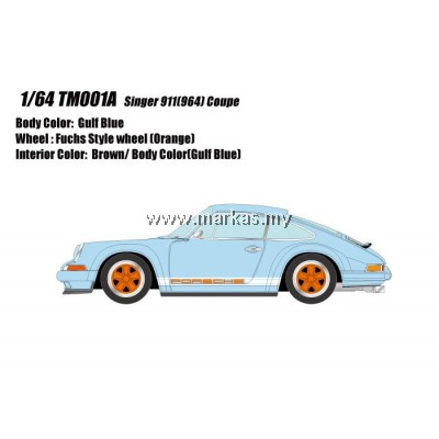 (PO) MAKE UP 1/64 TM001A PORSCHE SINGER 911 (964) COUPE GULF BLUE