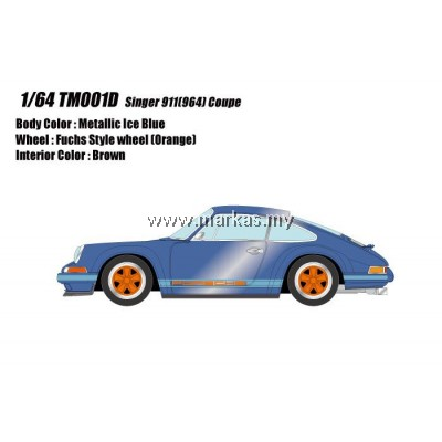 (PO) MAKE UP 1/64 TM001D PORSCHE SINGER 911 (964) ICE BLUE METALLIC