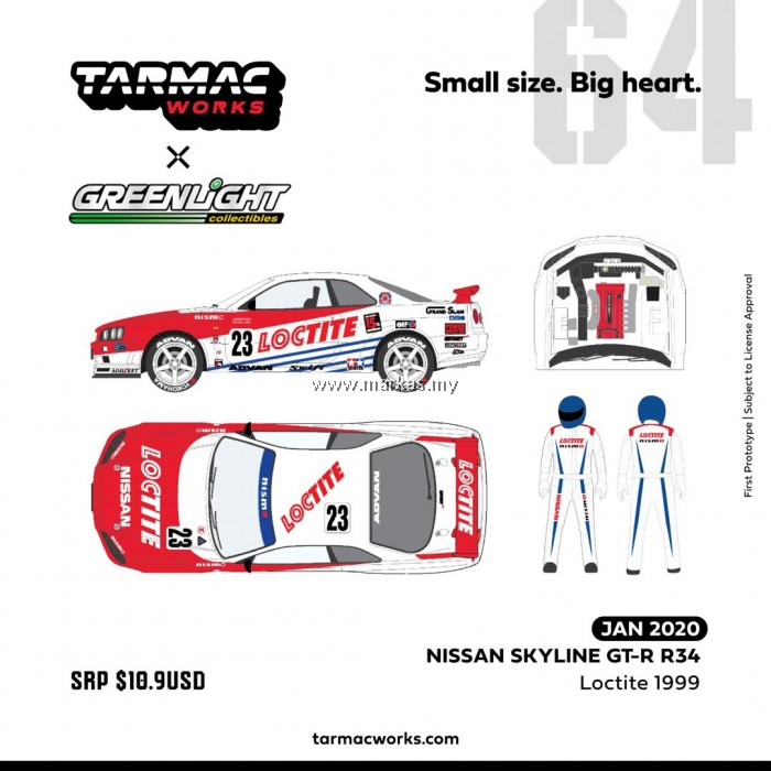 (PO) TARMAC WORKS x GREENLIGHT COLLECTIBLES 1/64 NISSAN SKYLINE GT-R R34 LOCTITE 1999 *INCLUDES RACE FIGURE