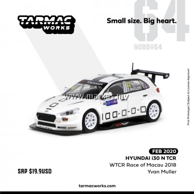 (PO) TARMAC WORKS 1/64 HYUNDAI i30 N TCR WTCR RACE OF MACAU 2018