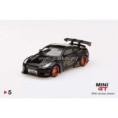 (PO) MINI GT 1/64 #05 LB WORKS NISSAN GTR R35 TYPE 1 REAR WING 1+2 BLACK WITH COPPER WHEELS